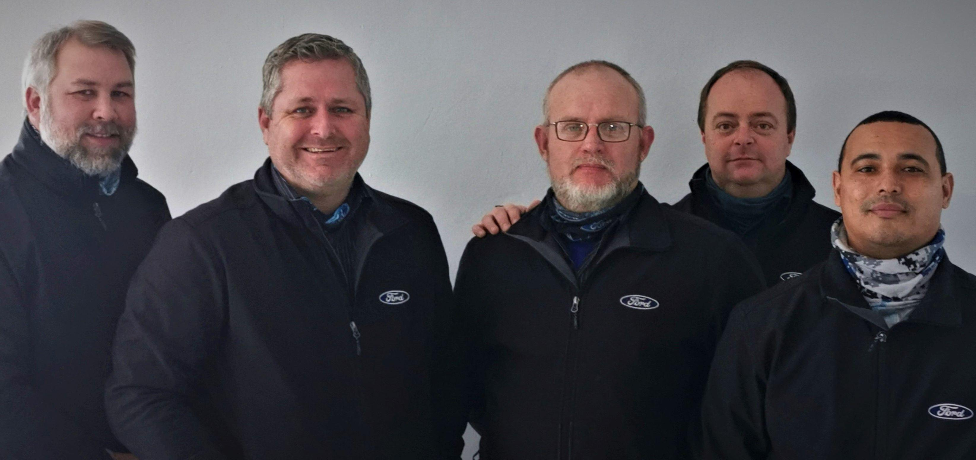 Rola Ford Caledon management team: From left is Wiehan Grobbelaar (FM), Marco Calitz (DP), Vernon Scheepers (Aftersales Manager), Lean de Wet (Sales Manager) and Paul Adonis (Driveway Manager).