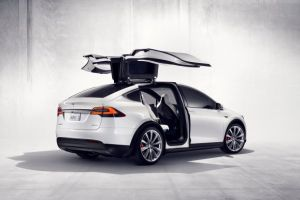 Tesla Model X on display to market charging infrastructure